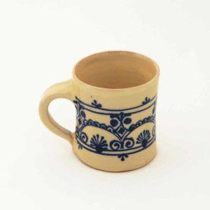 Véro & Jean-Claude Ricard tasse à café terre vernissée beige et bleu